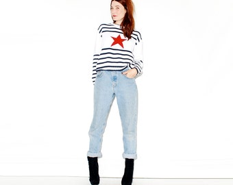 SLOUCHY AMERICAN FLAG Sweater // vintage jumper oversized sweater nautical flag star striped sweater knit sweater, cropped sweater crop top