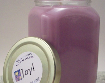 Pink Joy Aromatherapy Candle Grapefruit Rose Geranium Sage Orange Essential Oil Scented Soy Wax Candle with Coreless Wick - Herbal Citrus