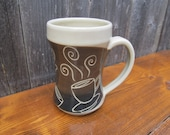 Coffee mug, tea mug, brown, black