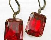 Art Deco Jewelery - Ruby Earrings - Art Deco Earrings - Victorian Earrings - WINDSOR Ruby