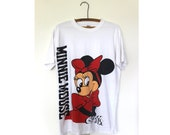 Minnie Mouse Tee White Vintage Oversize 80s L Mens Cartoon