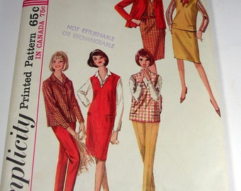 1960s Simplicity 5574 Misses Pattern Size 12 Bust 32 Blouse,Jumper,Top,Skirt and Pants Pattern