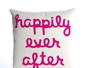 HAPPILY EVER AFTER -  recycled felt applique pillow  22 inch - more colors available