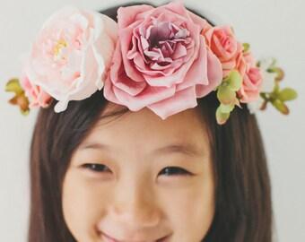 Pink Flower Girl Corwn Halow Hair Accessory - White Pink Weddings Flower Girls Wreath, Bridal Flower wreath