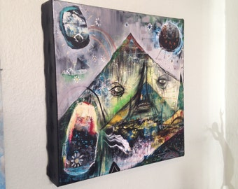 The Mountain Watched - Original Painting on Stretched Canvas