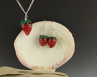Glass strawberry bead necklace and earrings ,Sweet summer ripe strawberry necklace and earring set