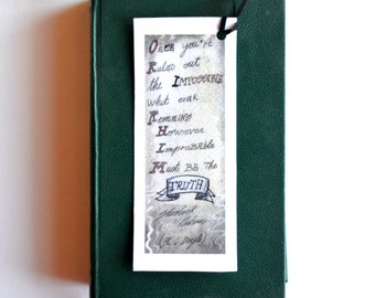 Sherlock Holmes illustrated quote bookmark