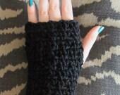 Crochet Fingerless Gloves Jet Black End of Winter Sale