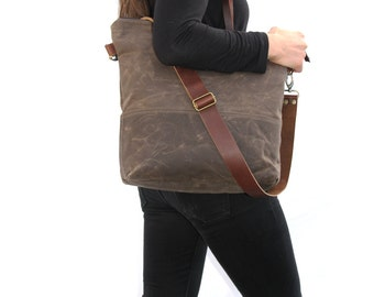 Waxed Canvas Tote in Oak Brown with Cross Body Leather Strap and Leather Handles