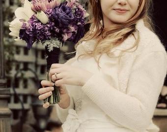 Bridal Shrug Ruffle Bolero Bride Boleros with Pearls Beaded Lace  3/4 sleeve Wedding  Shawl Wrap Capelet Ivory