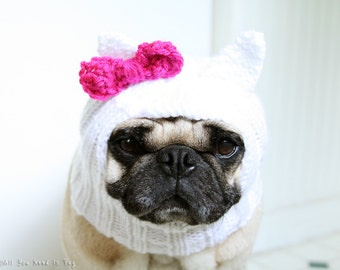 Dog Hat - Adorkable Kitten Hat - Dog Costume - All You Need is Pug Hat - Custom Knits for Pets - Dog Lover Gift
