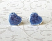 Small Stud Earrings. Blue Hearts. Petite. Ceramic. Cornflower. Denim. Periwinkle. Indigo. Sapphire. Post Earrings. Surgical Steel. Simple