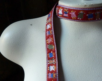 Embroidered Trim In RED for Headbands, Belts, Garments, Costume Design TR 228