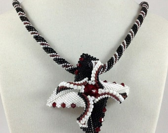 Holiday Sale! Black and White Beadwoven Pendant Necklace...EBW Team