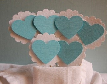 Turquoise Blue Heart Cupcake Topper --Set of 12  -- Bridal Shower-Wedding Decor-Party-Decor-Love-Baby Shower-Ready to Ship