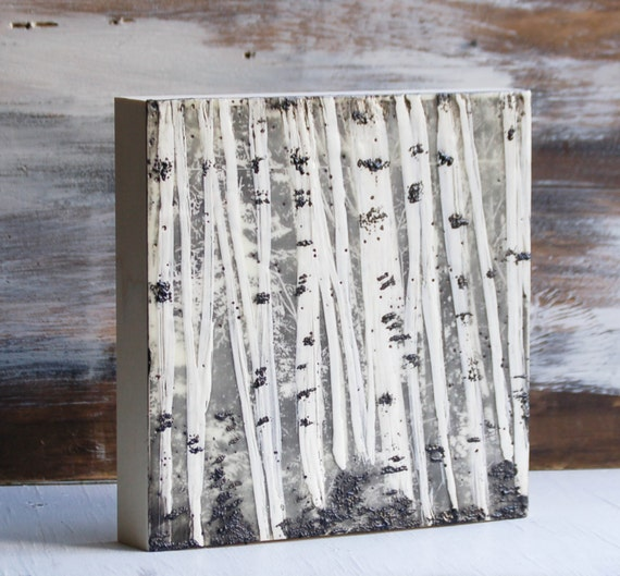 White trees encaustic painting white birch trees by - White painted tree trunks ...