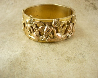 Vintage medieval winged Dragon Bracelet bangle cuff Mythical creature