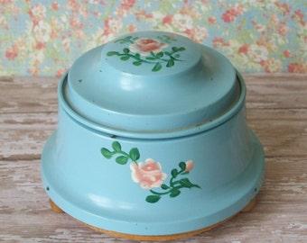 Vintage Blue Handpainted Roses Tin Powder Music Box
