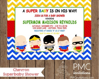 Custom Printed Chevron Superhero Baby Shower Invitations - 1.00 each with envelope