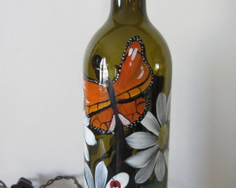 Butterfly, Daisy, Lady Bug, Amber  Lighted Wine Bottle