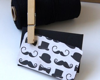 Mustaches, Bow Ties & Top Hats Mini Card Set with Envelopes . Set of 6
