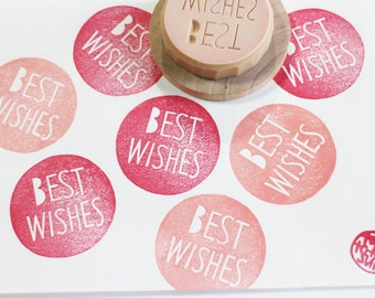 best wishes stamp. hand carved rubber stamp. snail mail packaging stamp. teacher's stamp. diy birthday. end of school year scrapbooking