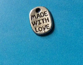 20 oval 'made with love' charms, antiqued silver tone, 11mm