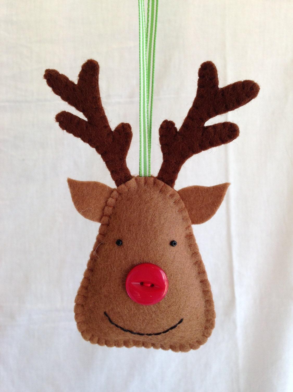 Christmas decorations felt reindeer unscented scented for Reindeer decorations
