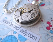Silver Steampunk Necklace Round Pendant Non Working Real Vintage Caravelle Japan Watch Movement Unisex Industrial Jewelry