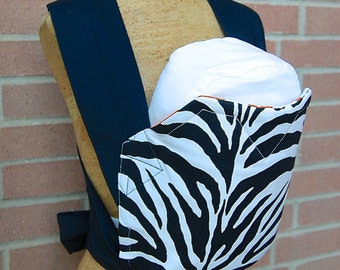 Reversible Mei Tai Carrier - Zebra Print and Orange Dot