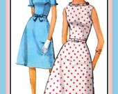 Vintage 1964 -SWEETIE PIE DRESS -Ruffle Edge Dress -Sewing Pattern -Two Lovely Styles -Fitted Bodice- A- Line Skirt- Bow Belt- Size 9 -Rare