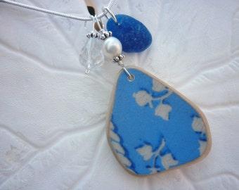 Sea Glass Necklace - Blue Beach Sea Pottery Jewelry Seaglass