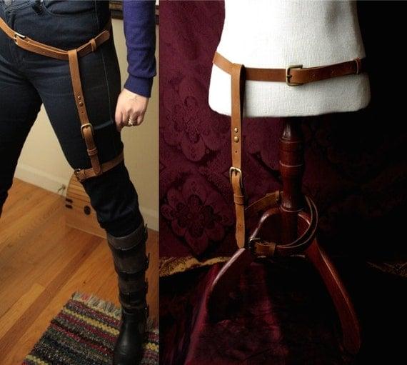 Steampunk Leather Leg Harness and Belt adjustable garter type holster & hip belt Caramel brown or oxblood leather/ antique or shiny brass