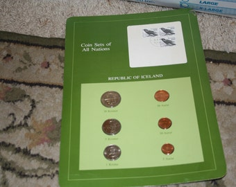 Icelandic Coins and Stamps on Card