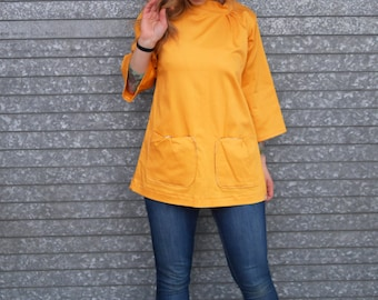Mustard Gold Retro Mod Long Bell Sleeve Collared Shirt with Pockets|Yellow Shirt|Vintage Top|Plus Size Shirt|Maternity Shirt|A Line Top