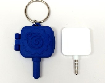 Square THIN Credit Card Reader 3D Printed Snap Case keychain - 8 color options - with Decorative Gear-Swirl logo - MADE to ORDER 3-4 weeks