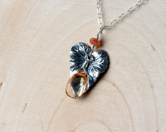 Orange Topaz Necklace with Leaf Accent on Sterling Silver - Lothlorien by CircesHouse on Etsy