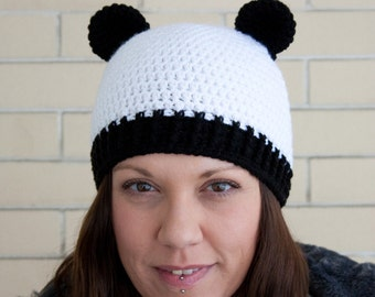 Cute panda bear crochet hat