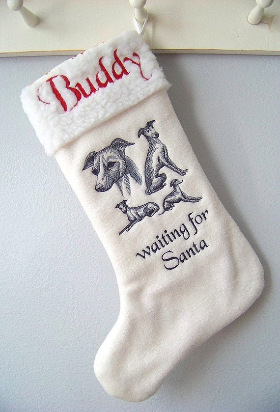 Italian Greyhound Christmas Stocking Sketch  - Personalized