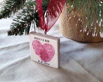 Personalized Heart Thumbprint Ornament - Gift for the Couple - Wedding Gift