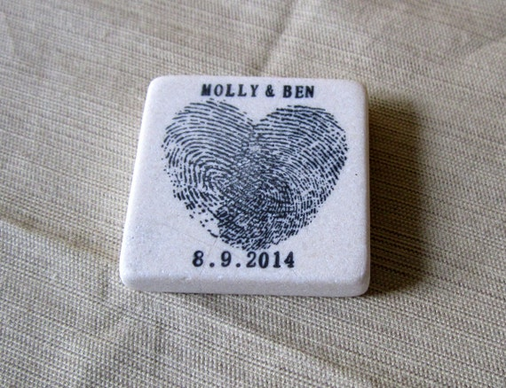 Heart Thumbprint Wedding Favor Magnets - Save the Date Magnets - Black - Set of 25