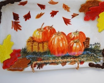 "Serving Tray Harvest Painting, Pumpkins On Tray, Serving Pottery Tray, Handmade, Hand Painted 8"" x 6"" Ceramic Tray,"