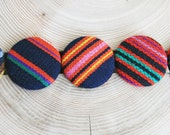 Pinback Button Fabric Covered Button Badge Striped Brooch Geometric Eco Friendly