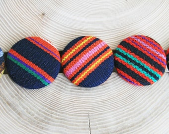 Fabric Button Badge Covered Button Striped Brooch Geometric Eco Friendly