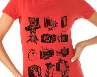 photographer shirt - photographer gift - photography gifts - womens tshirts - camera shirt - gift for her - photo - PHOTOGRAPHIE - crew neck