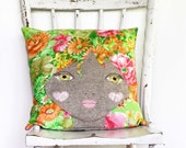 Doll face cushion pillow vintage bright mod afro girl handmade decorative