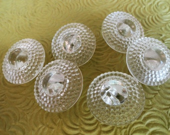 Dome Glass Vintage Buttons - 6 Antique 1940s