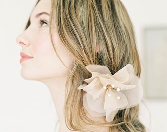 "Women's Blush silk hair flower, whimsical wedding detail ""Rory"""