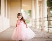 Light Pink Flower Girl Tutu Dress with Flower Sash