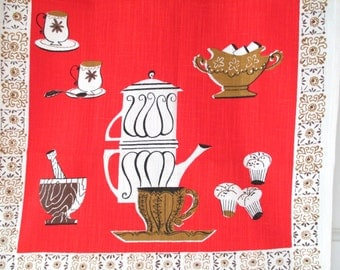 Vintage TEA Towel Mid Century Tea Service Coffee Pot